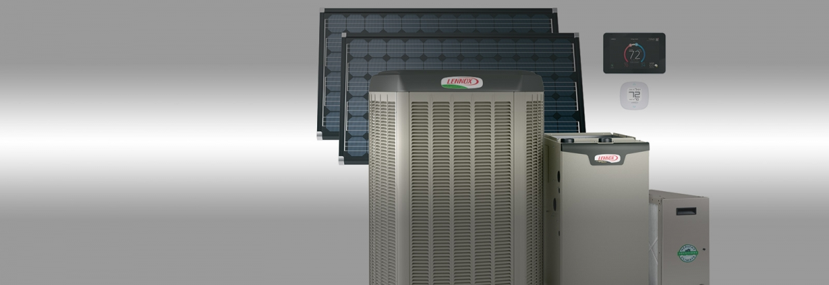 air conditioner, heat pump, solar modules and thermostats collage